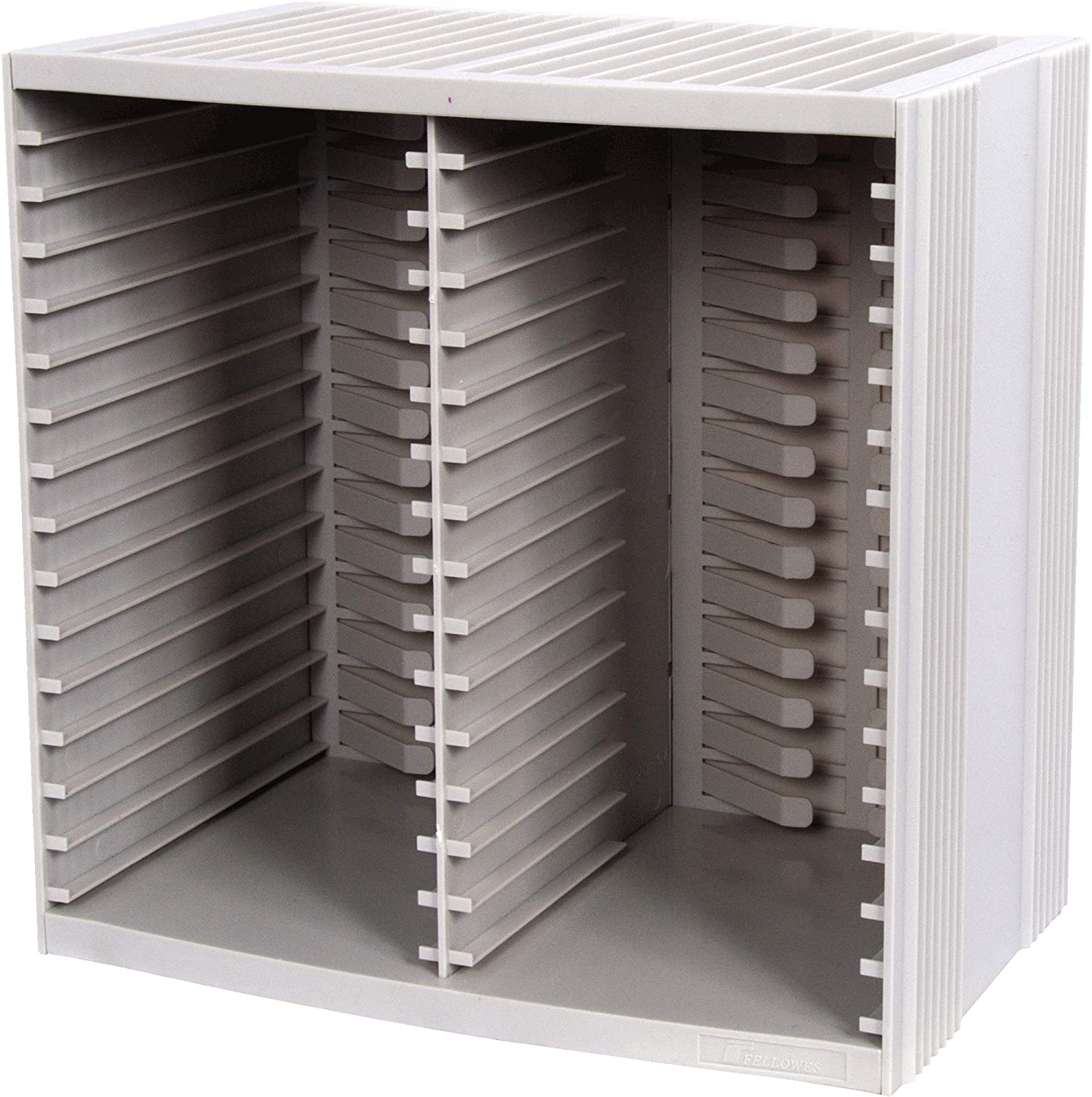 Title Fellowes CD Storage Unit, Holds 30 Discs + 18 on Top of CD Rack, Grey