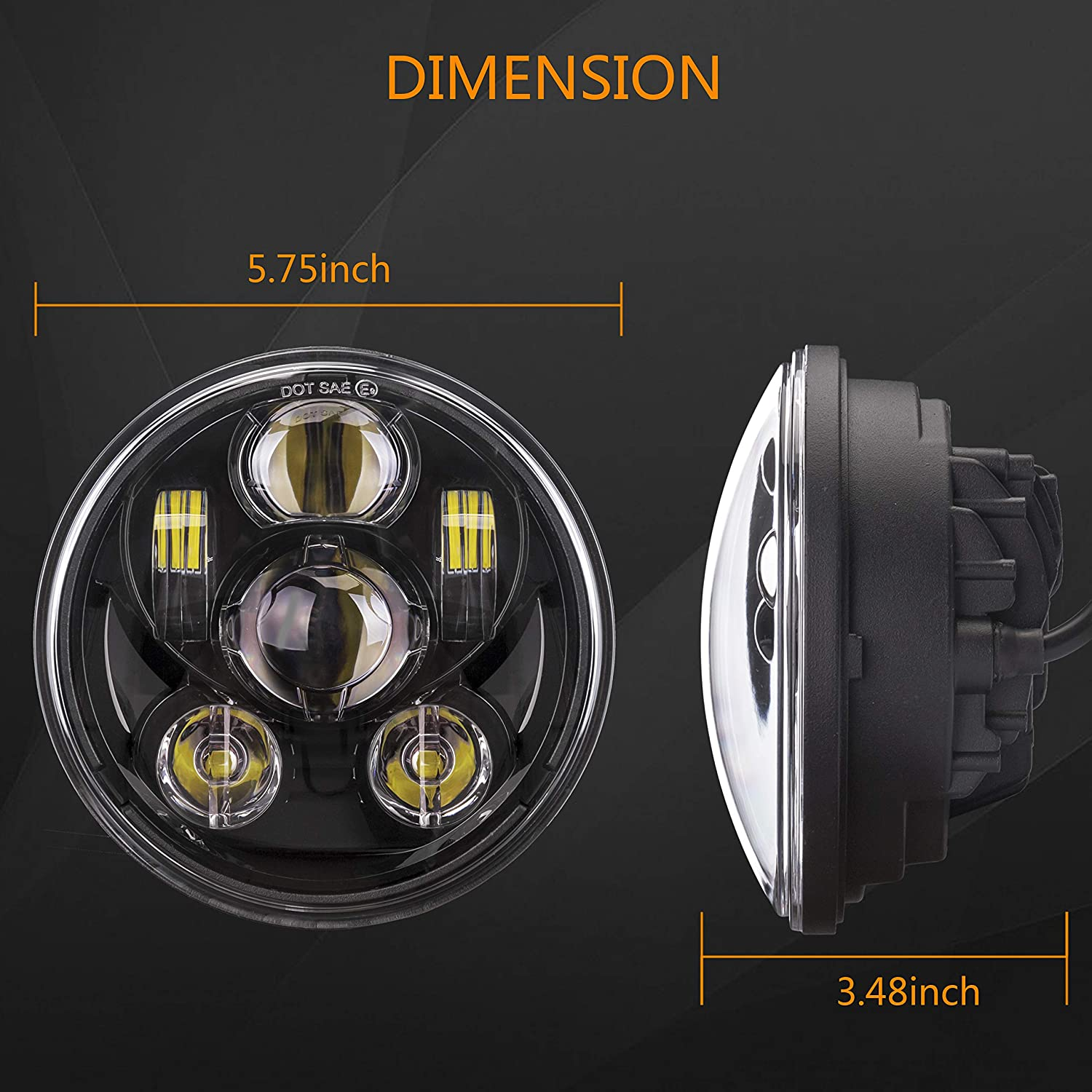 XINYOU 5-3//4 5.75 Harley LED Motorcycle Headlight with Hi//Low Beam Projector Driving Light for Harley Davidson Iron 883 Sportster Dyna Triple Low Rider Super Wide Glide Street Bob