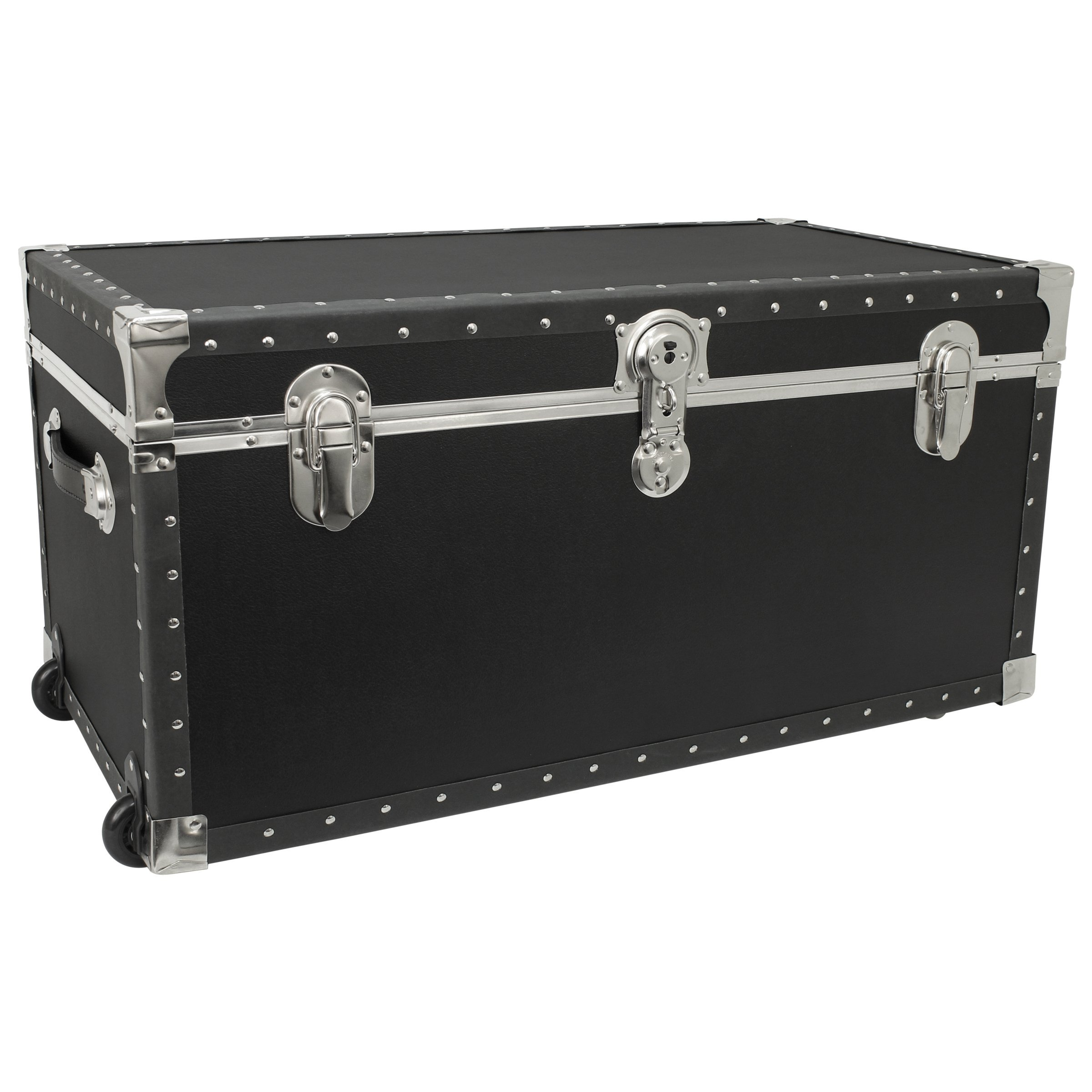 Seward Trunk Trailblazer Oversized Footlocker Trunk with Wheels, Black, 31-inch (SWD5231-11) by Seward Trunk