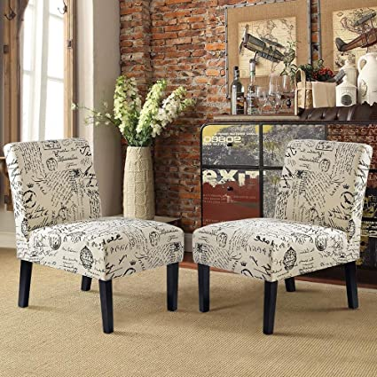 Harper Bright Designs Upholstered Accent Chair Armless Living Room Chair Set Of 2 Beige Script