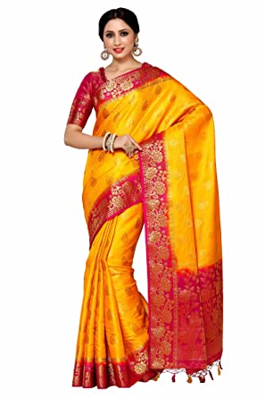 24af63f0f5 Image Unavailable. Image not available for. Colour: MIMOSA Art Silk Saree  With Blouse ...