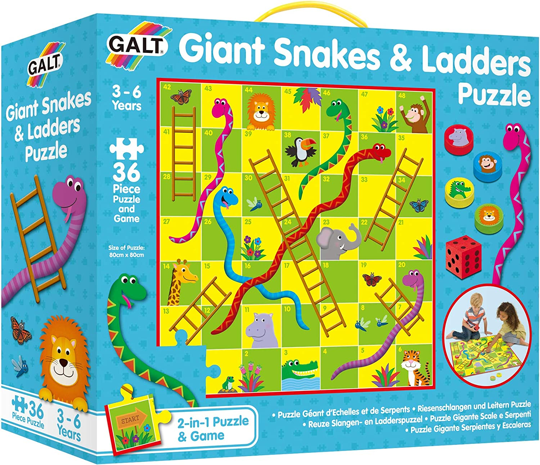 Galt America- Toys Puzle Gigante Serpientes y Escaleras (Galt 1005044)