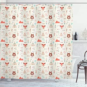 "Ambesonne Tribal Shower Curtain, Prehistoric Fox Arrows Bear Lodge Houses Feather Graphic, Cloth Fabric Bathroom Decor Set with Hooks, 70"" Long, White Salmon"