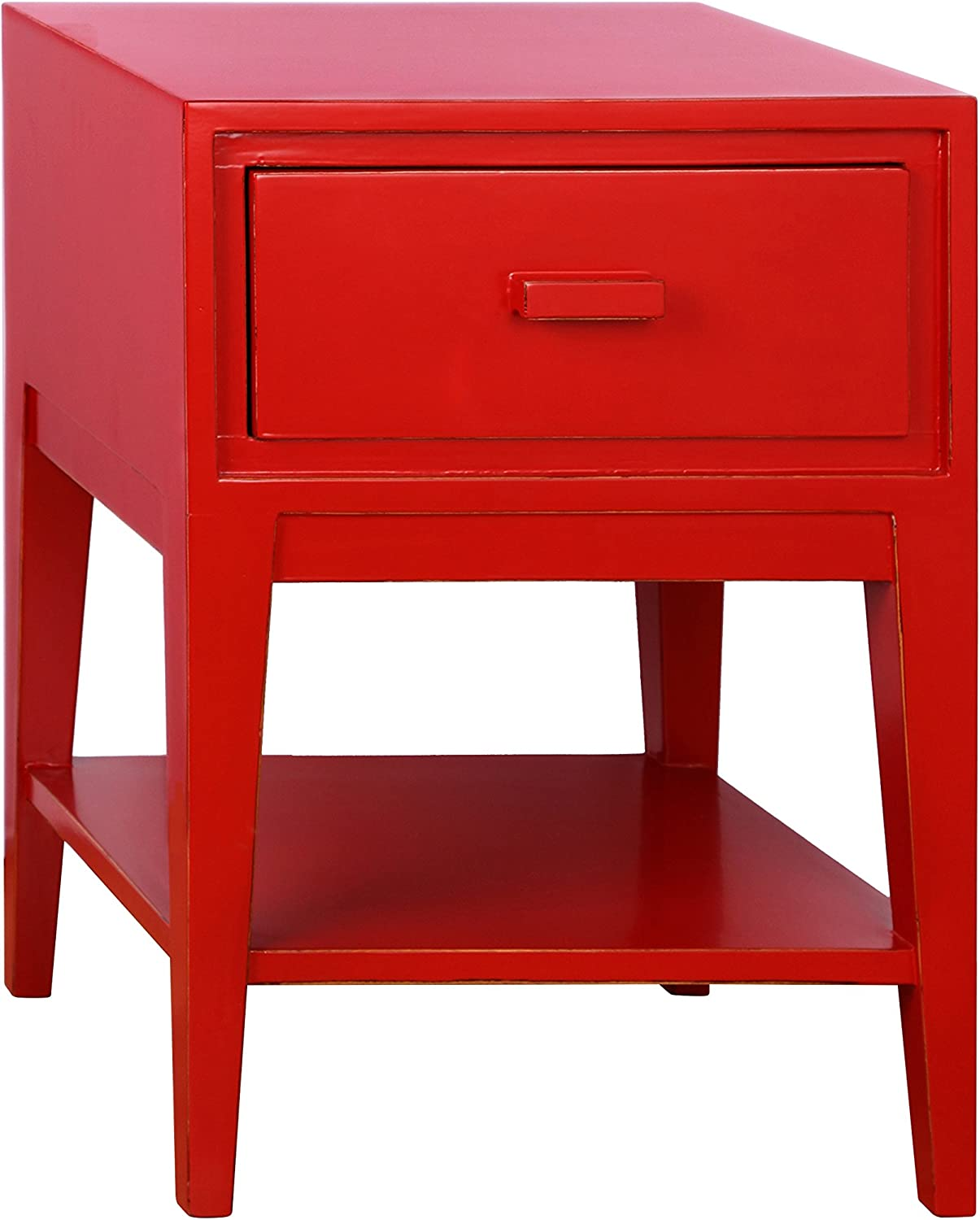 Porthos Home Enid Mid-Century Nightstand, Red