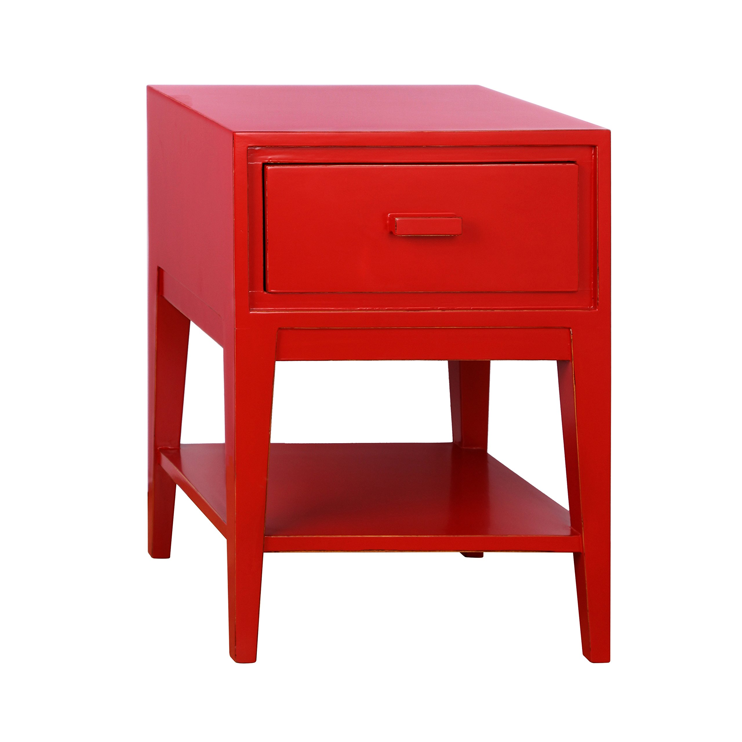 Tonality Designs Enid Mid Century Nightstand, Red