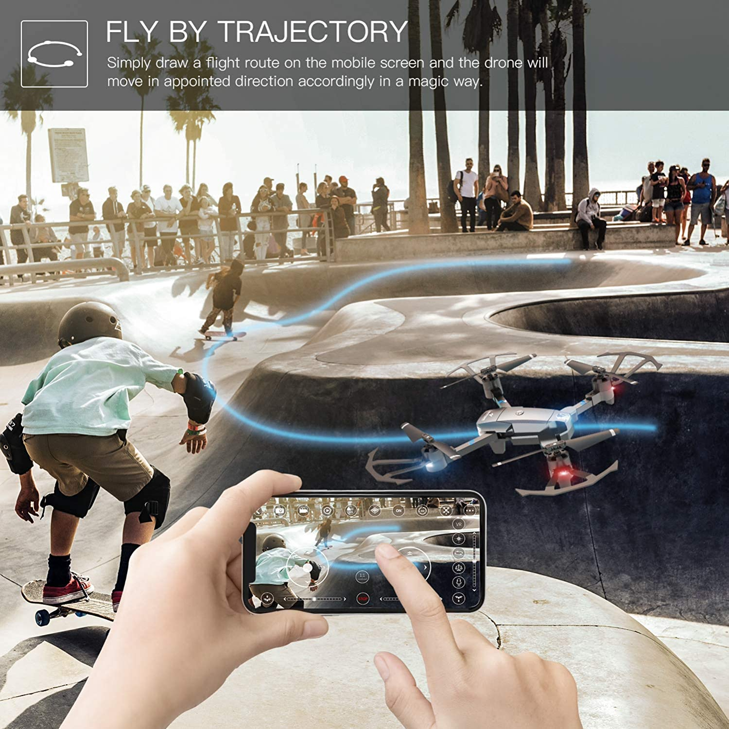 snaptain a15 foldable drone review of trajectory mode