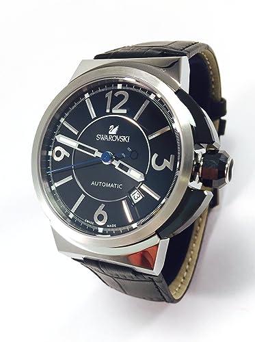 Reloj Swarovski hombres Piazza Grande de 43 mm con correa de cuero negro y el movimiento automático suizo 1094355: Amazon.es: Relojes