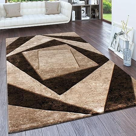 Paco Home Teppich Wohnzimmer, Flur Läufer in versch. Designs, Farben u.  Größen, Kurzflor, Grösse:10x10 cm, Farbe:Braun