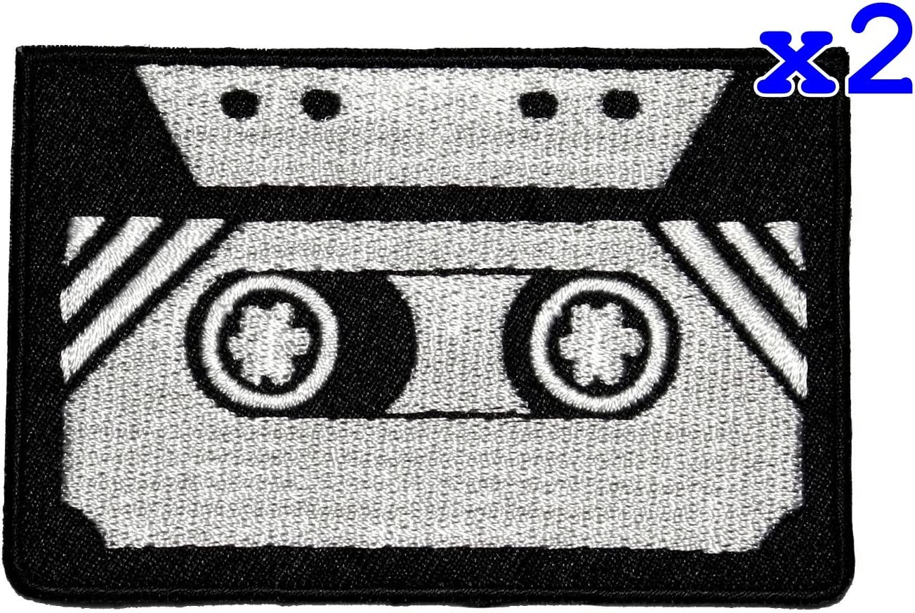 Pack of 2 Tape Cassette Retro DIY Applique Embroidered Sew Iron on Patch TCS-02