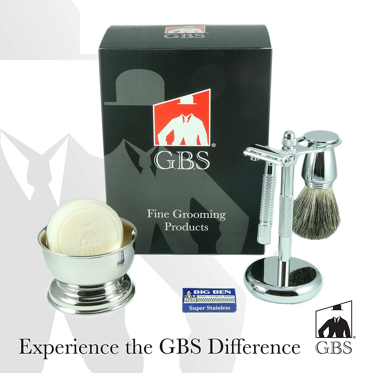 Men's Shaving Set- 5 Piece -DE Razor, Badger Brush, Chrome Bowl, GBS Soap and Stand Fgp