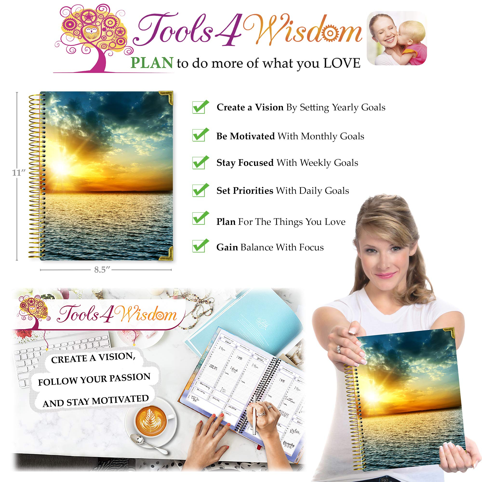 Tools4Wisdom Planner 2019-2020 - April 2019 to June 2020-8.5'' x 11'' Hardcover - Gold Edition by Tools4Wisdom (Image #9)