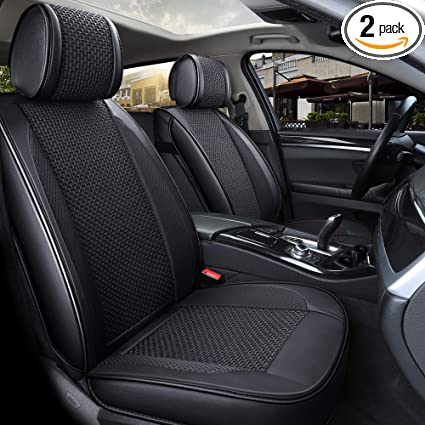 INCH EMPIRE Only 2 Front Seat PU Leather Ice-silk Car Seat Cover- Anti