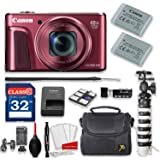 Canon PowerShot SX720 HS 20.3MP 40X Optical Zoom Digital Camera Kit (Red) + 32GB High Speed Memory Card + Extra Battery + Professional Accessory Bundle