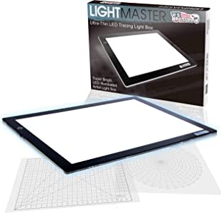 """US ART SUPPLY Lightmaster 32.5"""" Extra Large(A2) 17""""x24"""" LED Lightbox Board Ultra-Thin 3/8"""" Light Box Pad and 110V AC Power Adapter Dimmable LED with Measuring Overlay Grid & Circle Template/Protractor"""