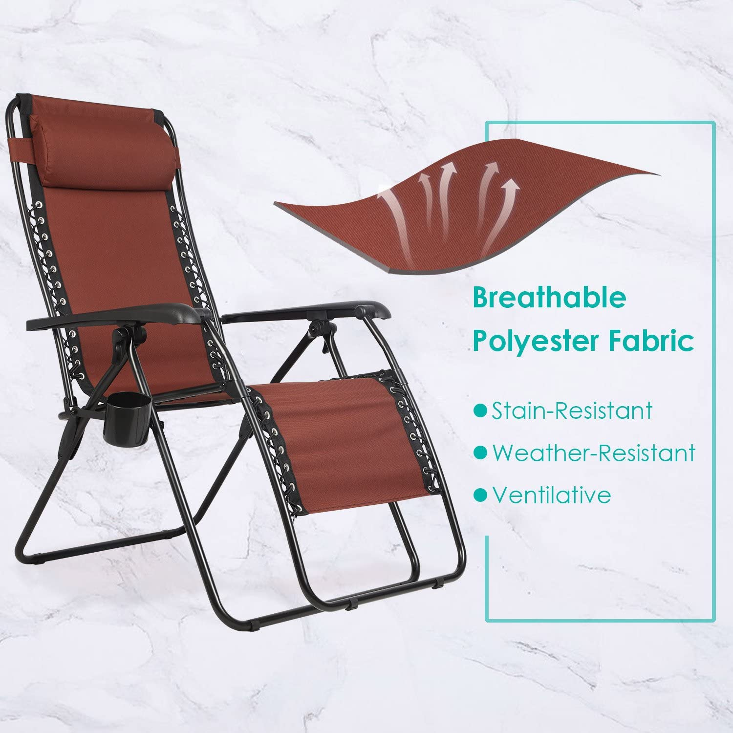"""PORTAL Zero Gravity Recliner Lounge Chair, Folding Patio Lawn Pool Chair with Headrest Cup Holder, Support 300lbs, Brown, 20.5""""(L) X21""""(W) X 45""""(H) (PR-LC-8012-BR): Sports & Outdoors"""