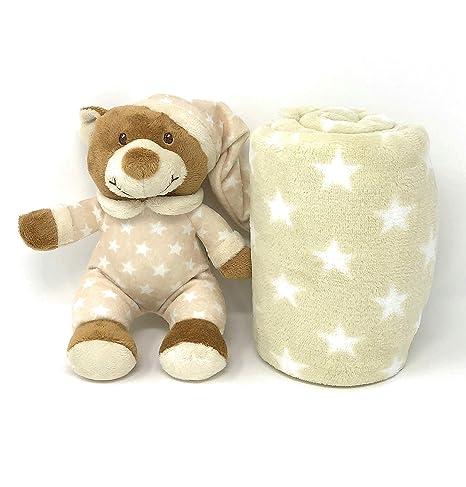 Set de manta y peluche para bebé - caja para regalo - manta de 75x100 cm