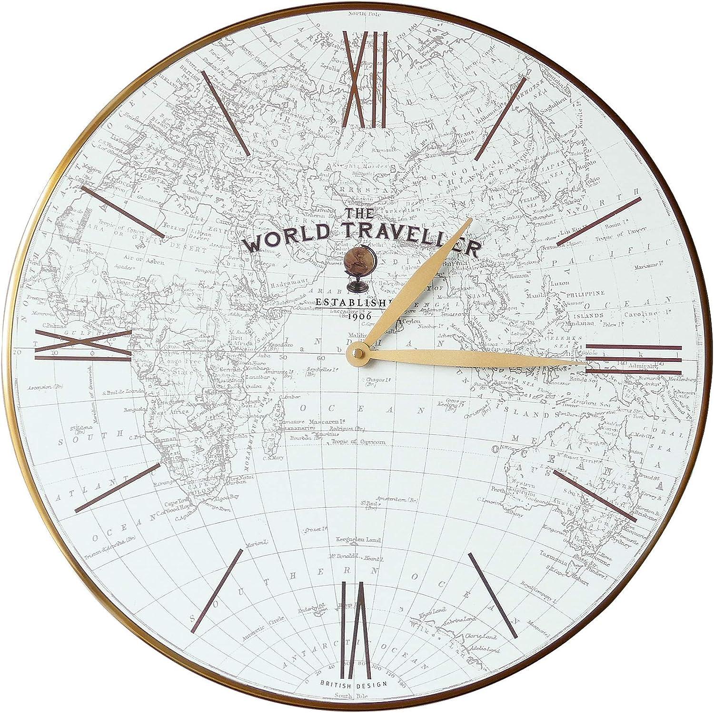 トーマス・ケント 20インチ 世界地図 世界旅行者 壁掛け時計 ガラス面 アルミニウム合金フレーム