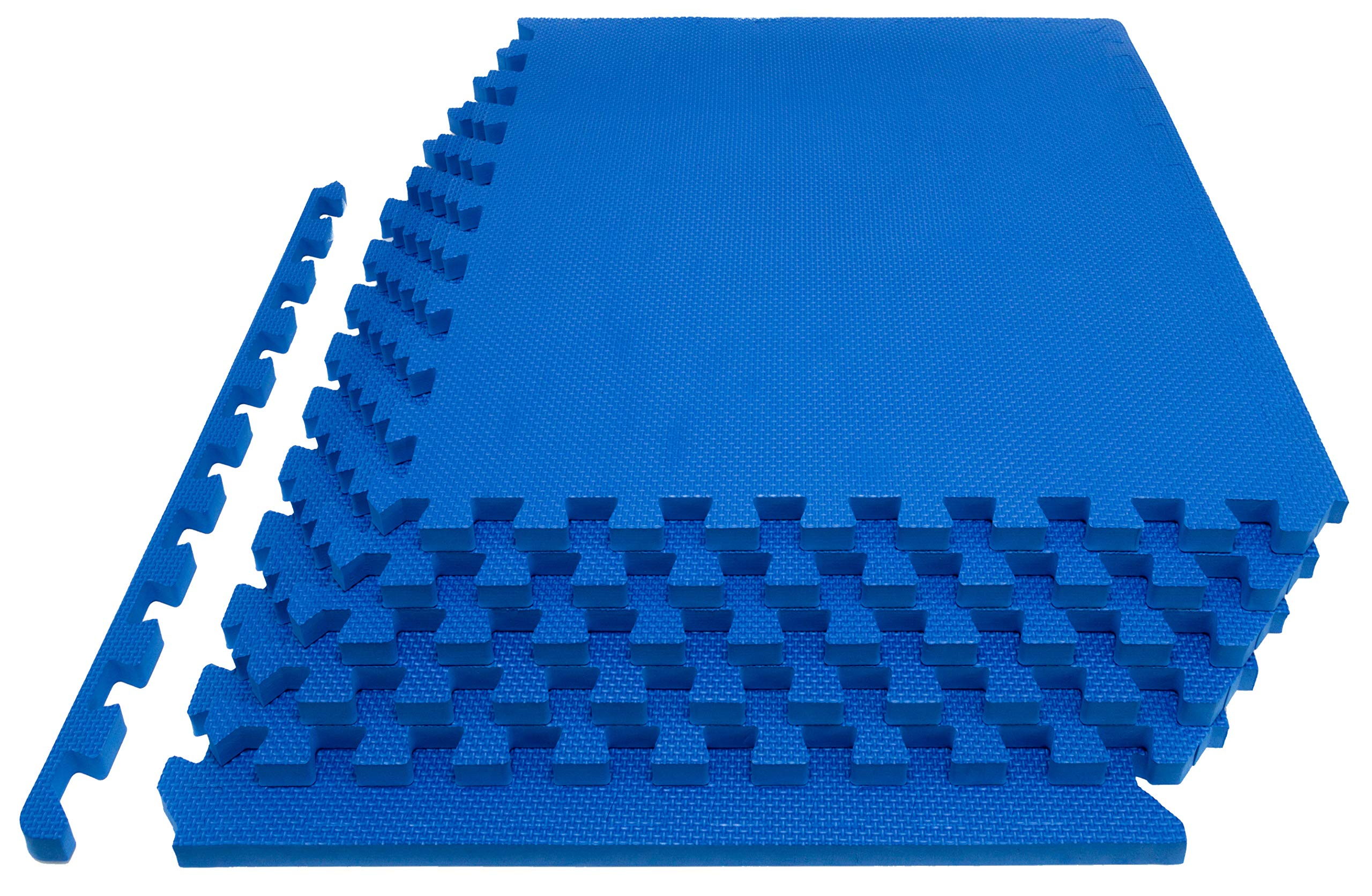Prosource Fit Extra Thick Puzzle Exercise Mat 1'', EVA Foam Interlocking Tiles for Protective, Cushioned Workout Flooring for Home and Gym Equipment, Blue