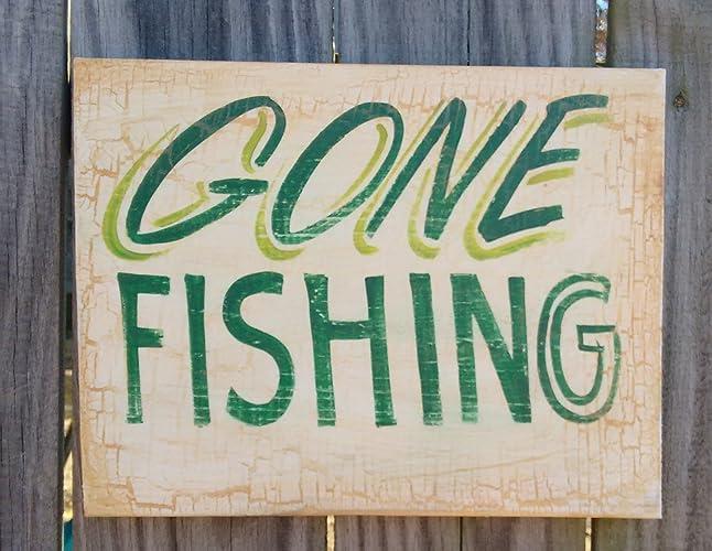 Amazon Gone Fishing Sign Lake Lodge Camp Fish Camp Fish Decor Beauteous Gone Fishing Signs Decor