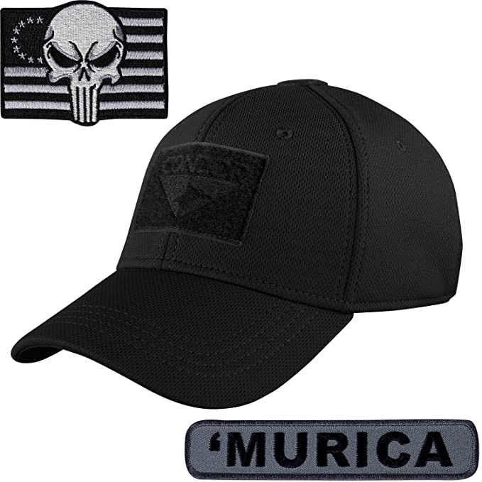 Condor Flex Fit Tactical Cap Large with TWO Morale Patch Bundle (Black   Murica) a5f314647fd