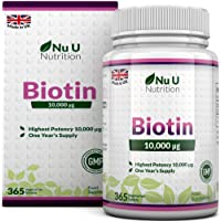 Biotin Hair Growth Supplement, 365 Tablets (Full Year Supply) Biotin 10,000MCG by Nu U Nutrition