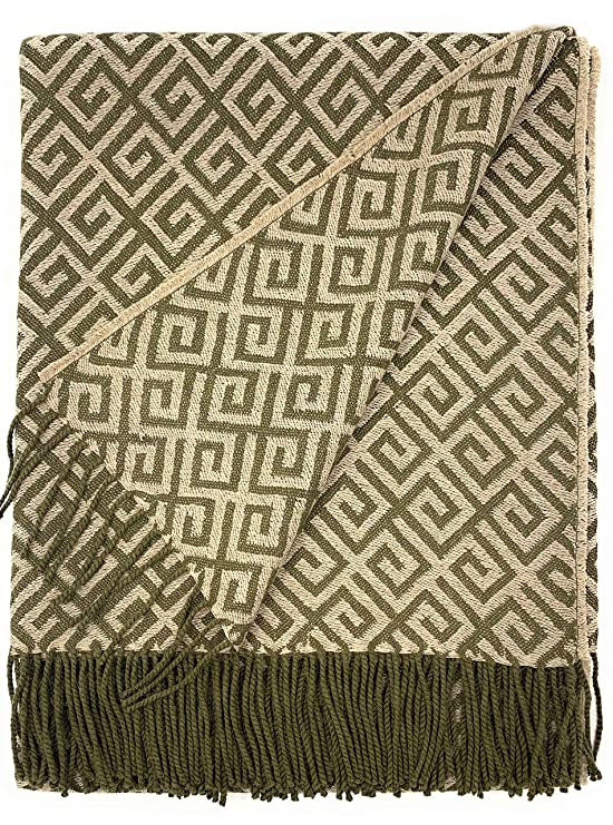 Amazon.com: Geometric Greek Key Alpaca Throw Blanket | 100 ...