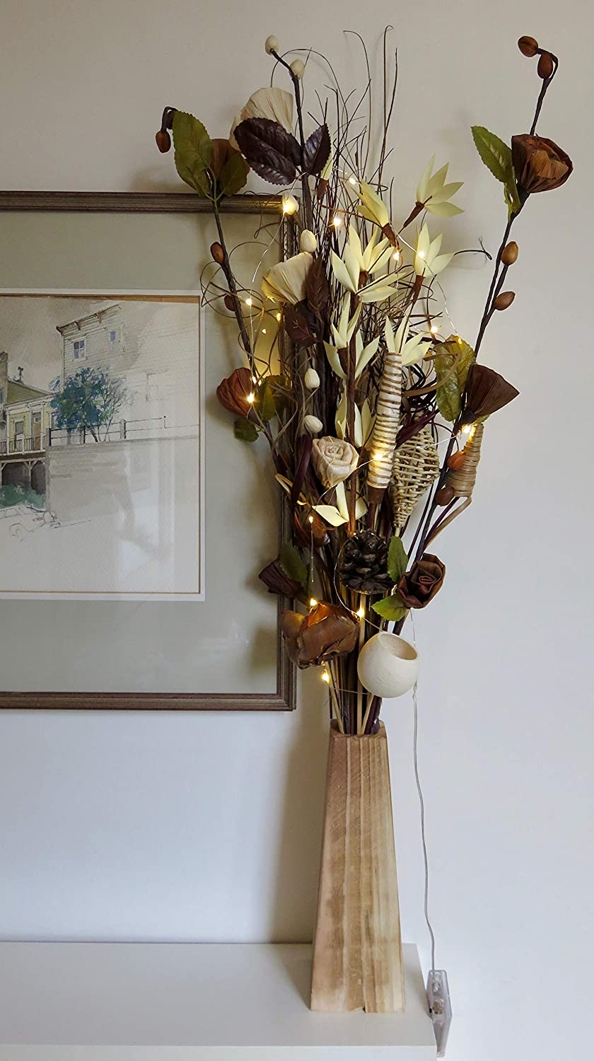 Unique Brown Cream Bouquet Incorporating Maize Recycled Flowers With 20 Led Lights In Wood Vase Amazon Co Uk Kitchen Home