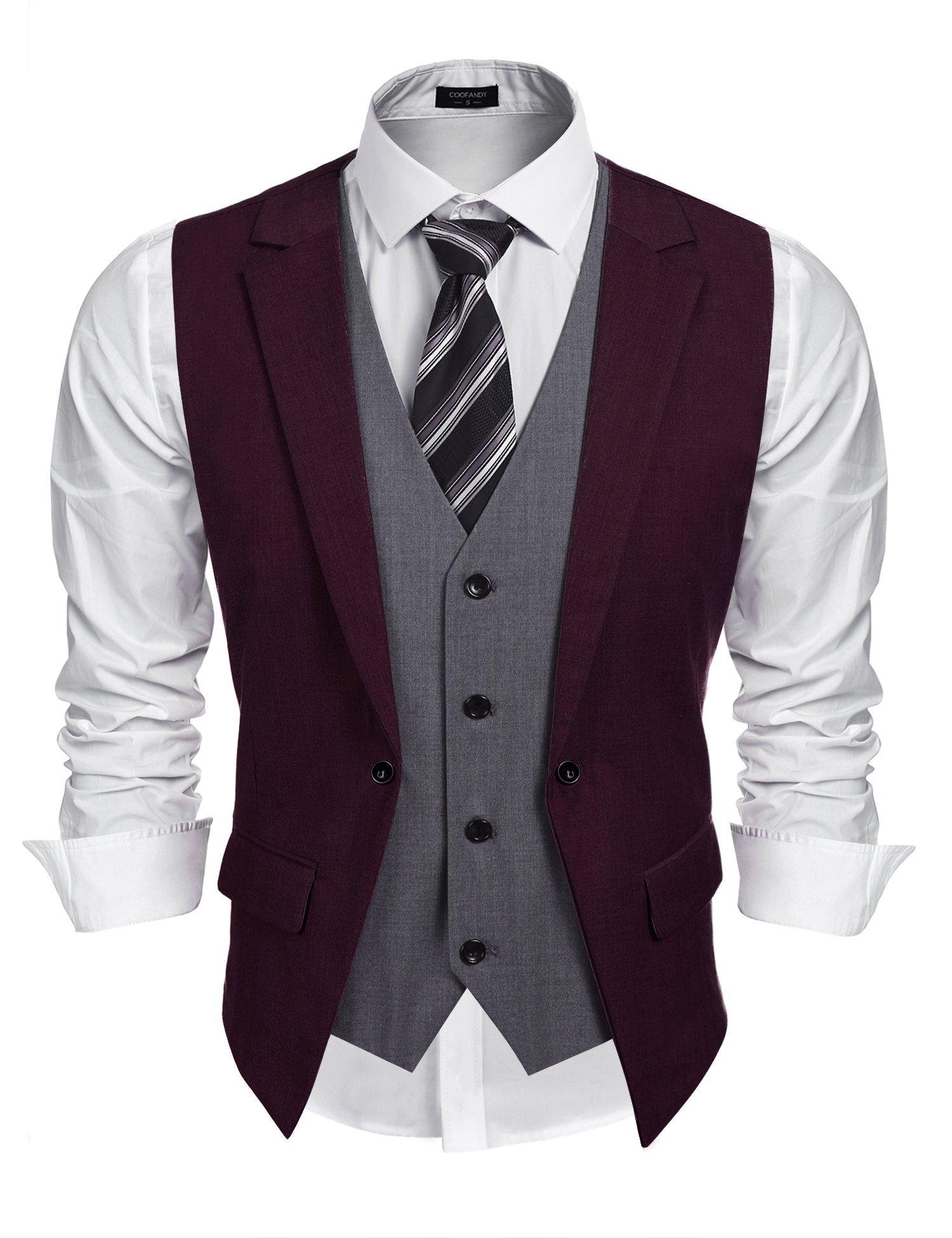 Coofandy Mens Formal Fashion Layered Vest Waistcoat Dress Vest (XL, Wine Red)