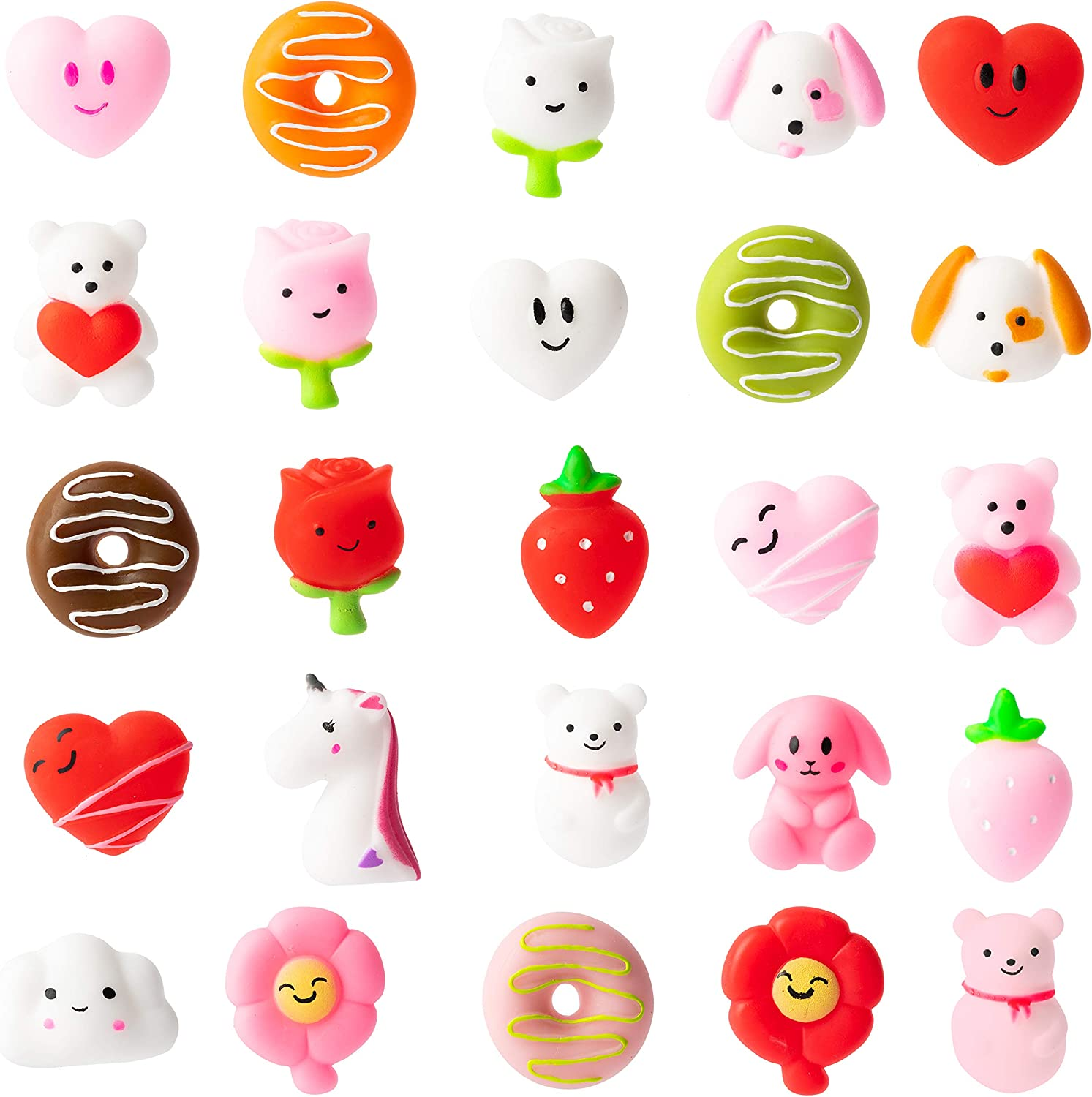 WATINC 25Pcs Mochi Squeeze Toys for Party Favor, Soft Squeeze Heart Donuts Flower Bear Stress Relief Hand Toys, Birthday Gifts,Classroom Decorations, Birthday Party Supplies