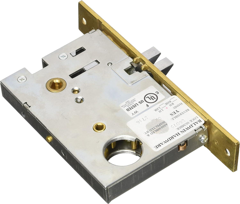 Satin Nickel Emergency Egress Mortise Lock with 2-3//4 B 6075150L Emergency Egress Mortise Lock with 2-3//4 B Baldwin 6075.L Left Handed Entrance