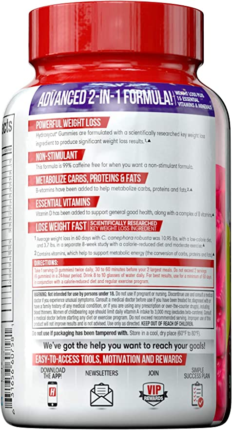 Amazon Com Hydroxycut Non Stimulant Weight Loss Mixed Fruit Gummies 90 Count Health Personal Care