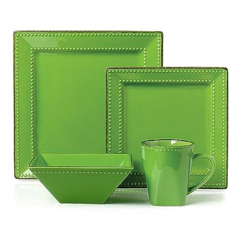 16 Piece Square Beaded Stoneware Set Green  sc 1 st  Amazon.com & Amazon.com | 16 Piece Square Beaded Stoneware Set Green: Dinnerware ...