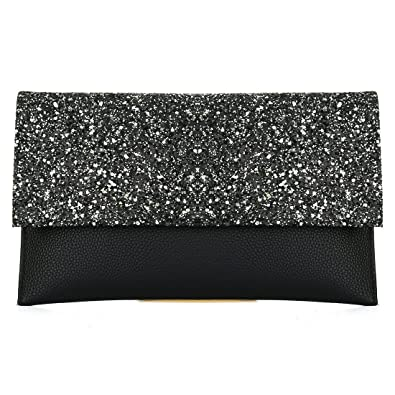 Womens Glitter Leather Envelope Clutch Bag Sparkly Silver Gold Black Evening  Bridal Prom Party Handbags Purse 308a630951b5