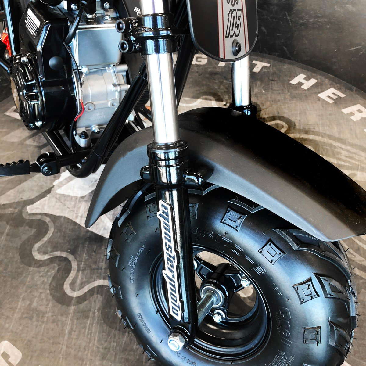 Monster Moto Limited Edition Black on Silver 105CC Mini Bike with Front Suspension-MM-B105-BBX by Monster Moto (Image #5)