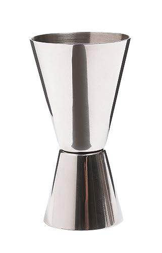 KitchenCraft KCBCJIG Bar Craft Cocktail Jigger Dual Spirit Measure Cup, Stainless Steel, Silver
