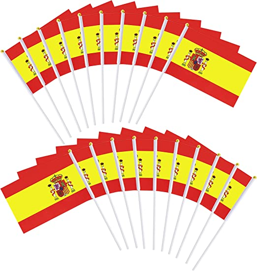 20pcs Bandera de mano Español Banderas con palo: Amazon.es: Hogar
