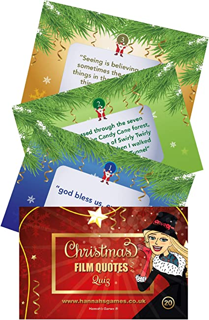 Film Movie Quotes Christmas Quiz Cards , Novelty Pocket Game in cello bag ,  Christmas Games for Adults \u0026 Kids , Xmas Eve Box , Cracker fillers ,