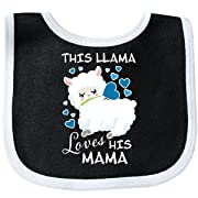 Inktastic - This Llama Loves His Mama with Blue Baby Bib Black/White 2ebce