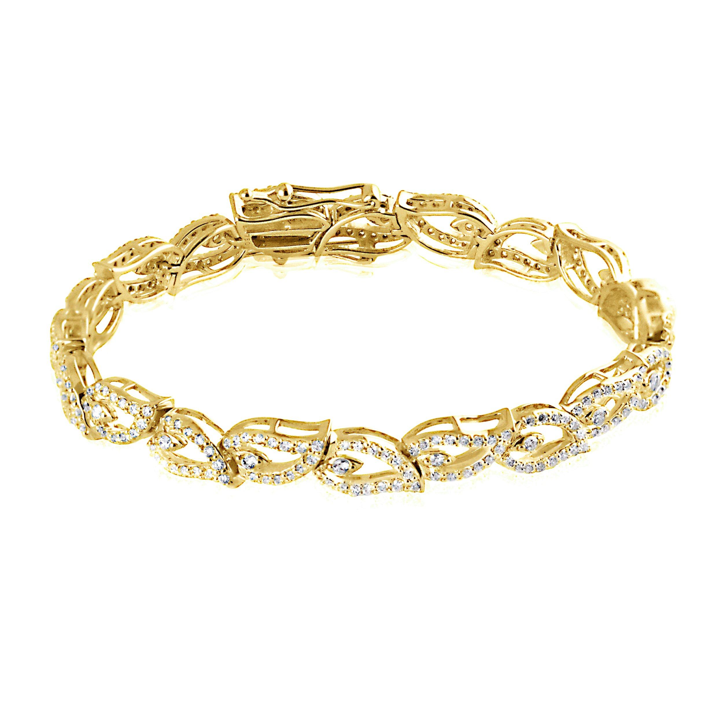 18K Yellow Gold 1.70 Carat (ctw) Natural Diamond Leaf Style Link Fine Bracelet for Women
