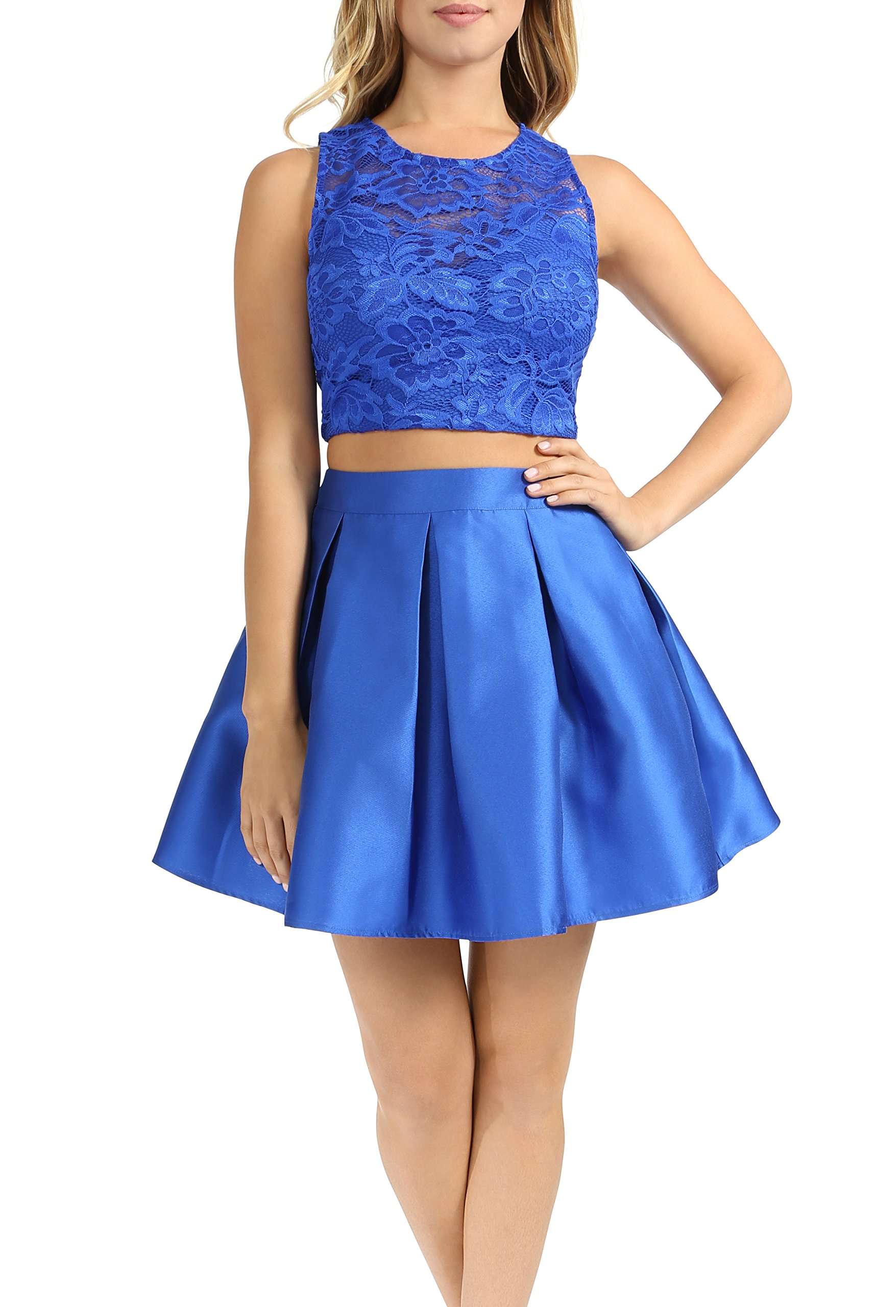 Teeze Me Juniors Sleeveless Two-Piece Floral Lace Crop Top Party Dress