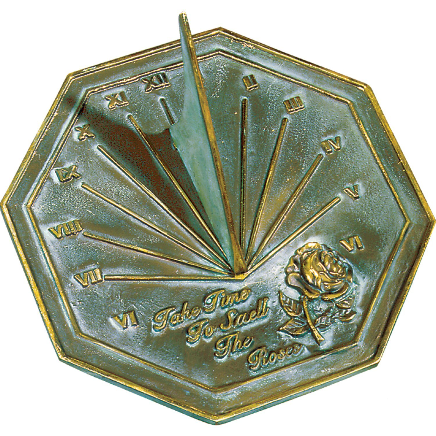 Rome 2320 Rose Sundial, Solid Brass with Verdigris Highlights, 8.5-Inch Diameter by Rome