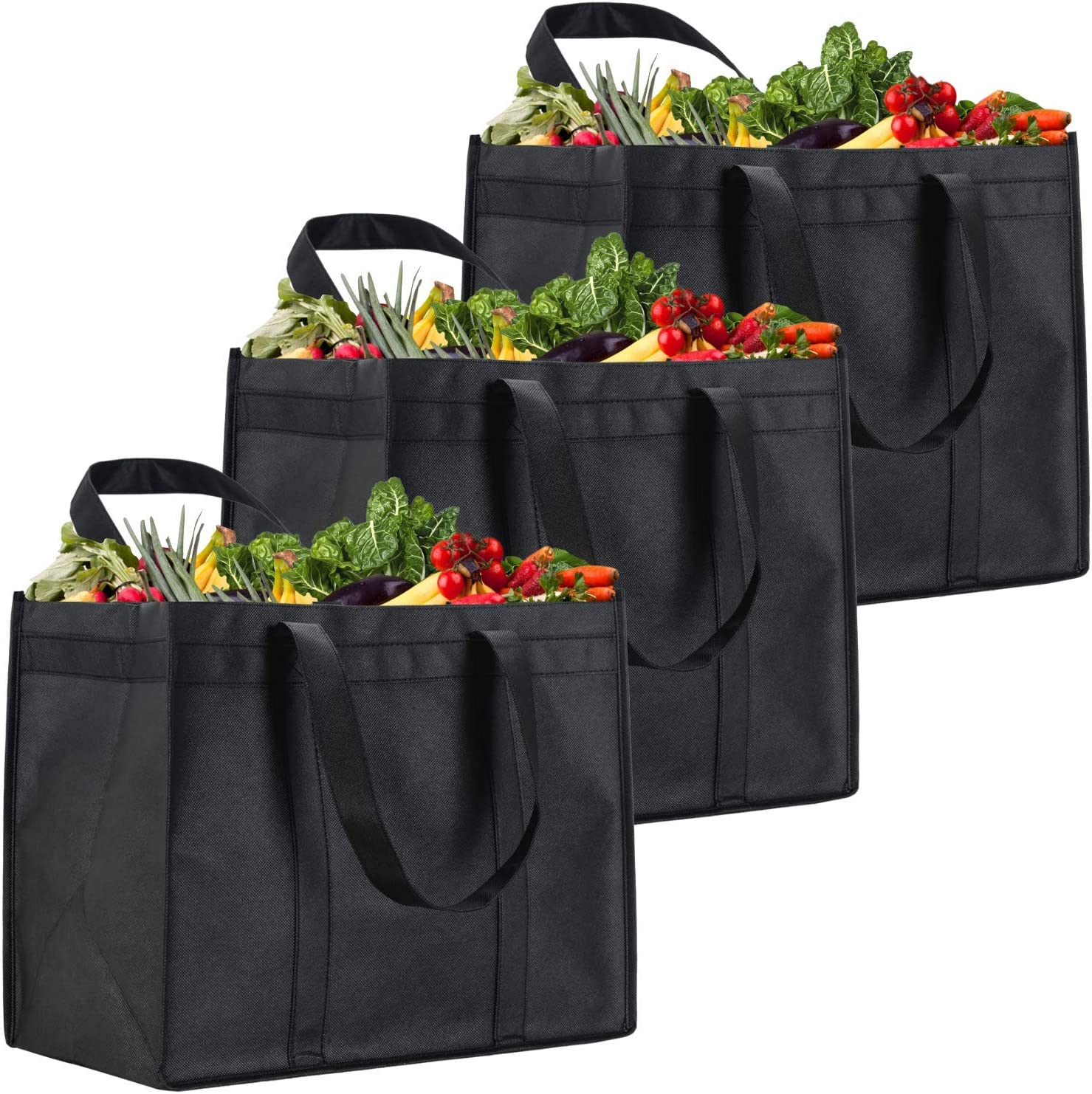 NZ Home XL Reusable Grocery Bags, Heavy Duty Shopping Tote, Stands Upright, Foldable, Washable (Black 3 Pack)