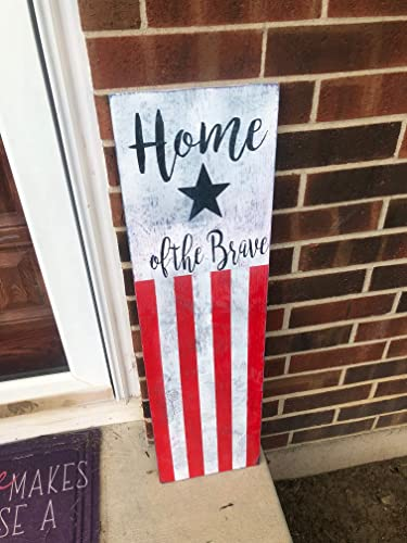 Patriotic Vertical Sign  Memorial Day Porch Sign  4th of July Porch Sign  USA  Land of the Free  Merica  America  Home of the Brave