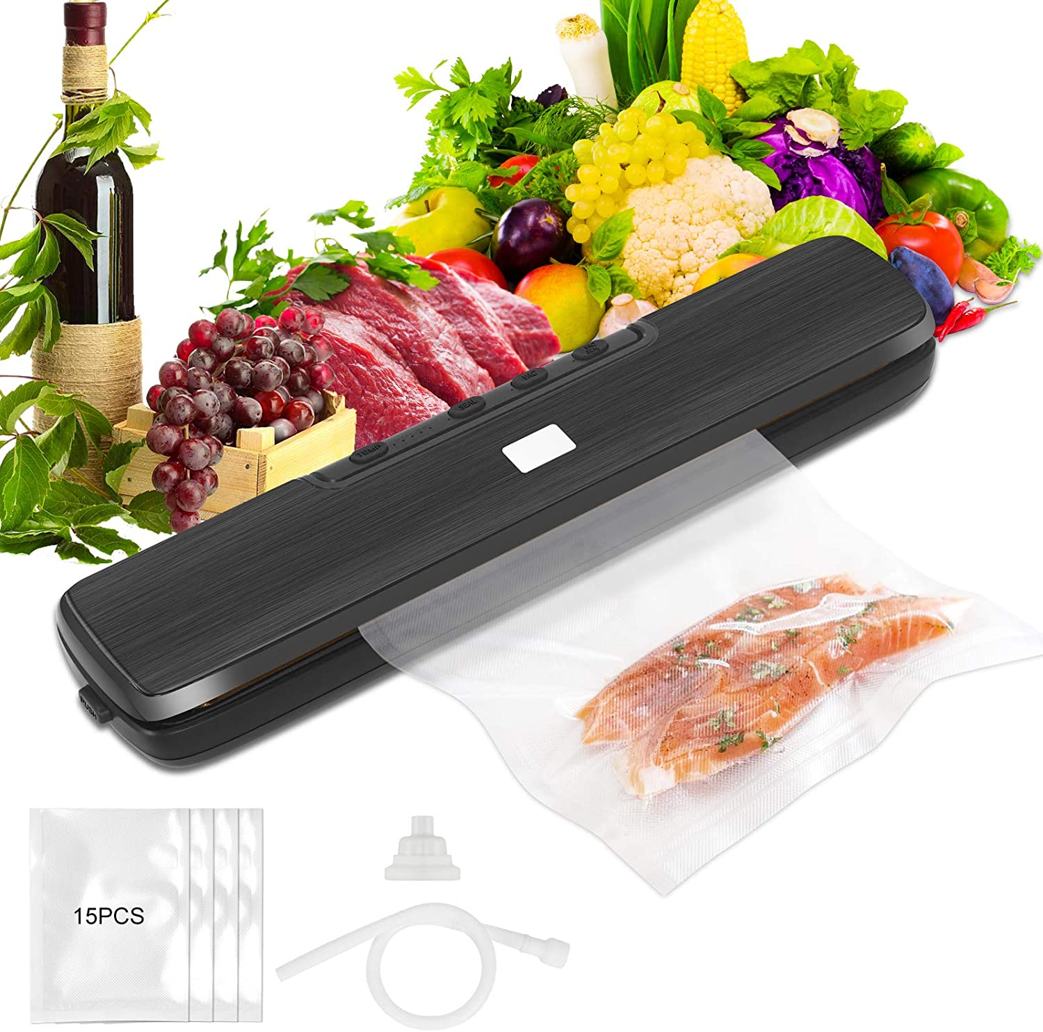 Vacuum Sealer Machine, Automatic/Manual Food Vacuum Air Sealing System, Dry & Moist Food Modes, Waterproof Vacuum Tube/15 pcs Vacuum Bags