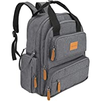 Baby Changing Bag Rucksack, ROOYA BABY Changing Backpack Bag, Nappy Backpack with Changing Mat, Neutrals Diaper Bag Backpack for Dad and Mum, Double Zipper Wide Opening Design, Waterproof and Insulated Pockets, Pram Clips included, Grey