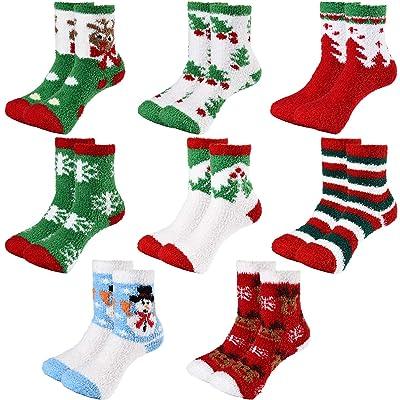 8 Pairs Christmas Socks Xmas Cozy Fluffy Socks Plush Slipper Socks for Women Girls at Amazon Women's Clothing store