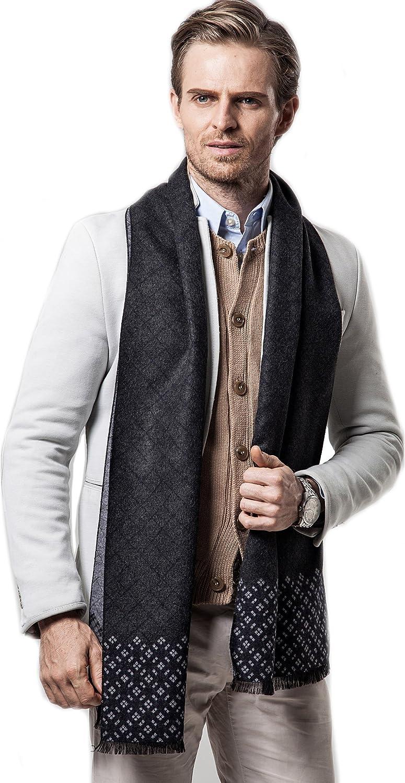 Tuopuda Mens Classic Super Soft Luxurious Cashmere Feel Winter Scarf Plaid Leisure Business Neckerchief