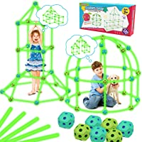 Upgraded Kids Toys Fort Building Kit 130pcs Glow in The Dark Toys for 5 6 7 Year Old Boys Girls STEM Kids Tent Building…