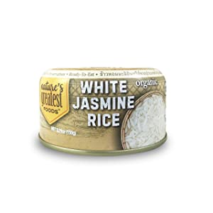 Nature's Greatest Foods, Ready-to-Eat, Organic Jasmine White Rice, Fully Cooked, Easy Open Tab & Resealable Lid, 5.29oz (Pack of 12)