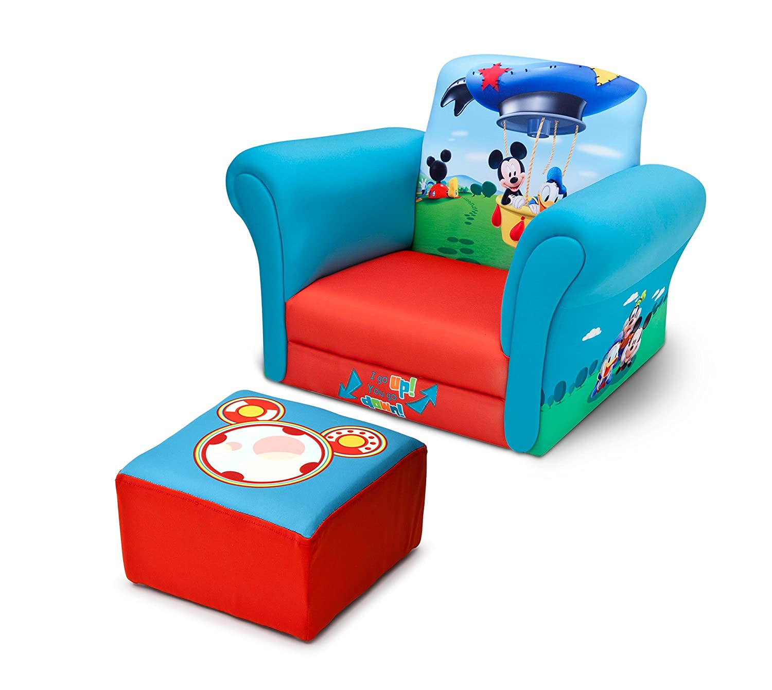 Amazon.com: Delta Children Upholstered Chair With Ottoman, Disney Mickey  Mouse: Baby